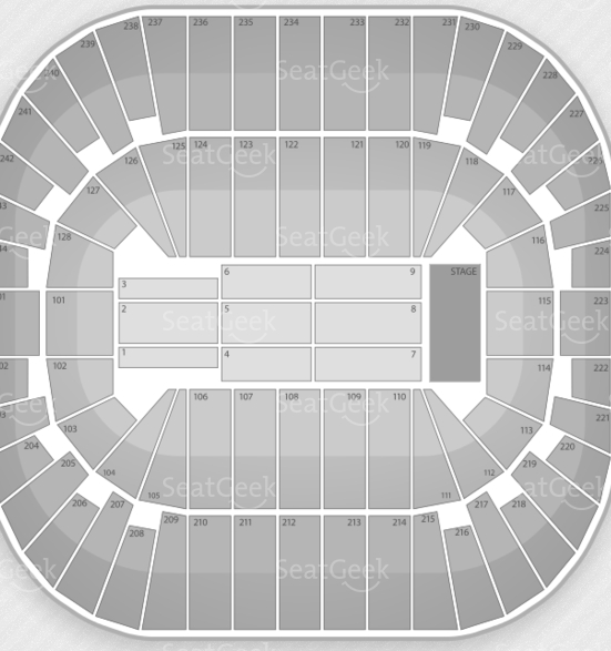 Seating chart for New Jersey's Izod Center.