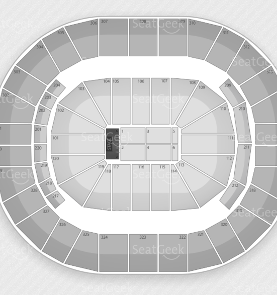 Seating chart for the KFC Yum! Center