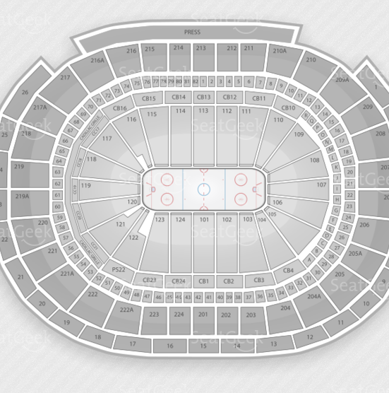 Seating chart of the Wells Fargo Center in Pennsylvania.