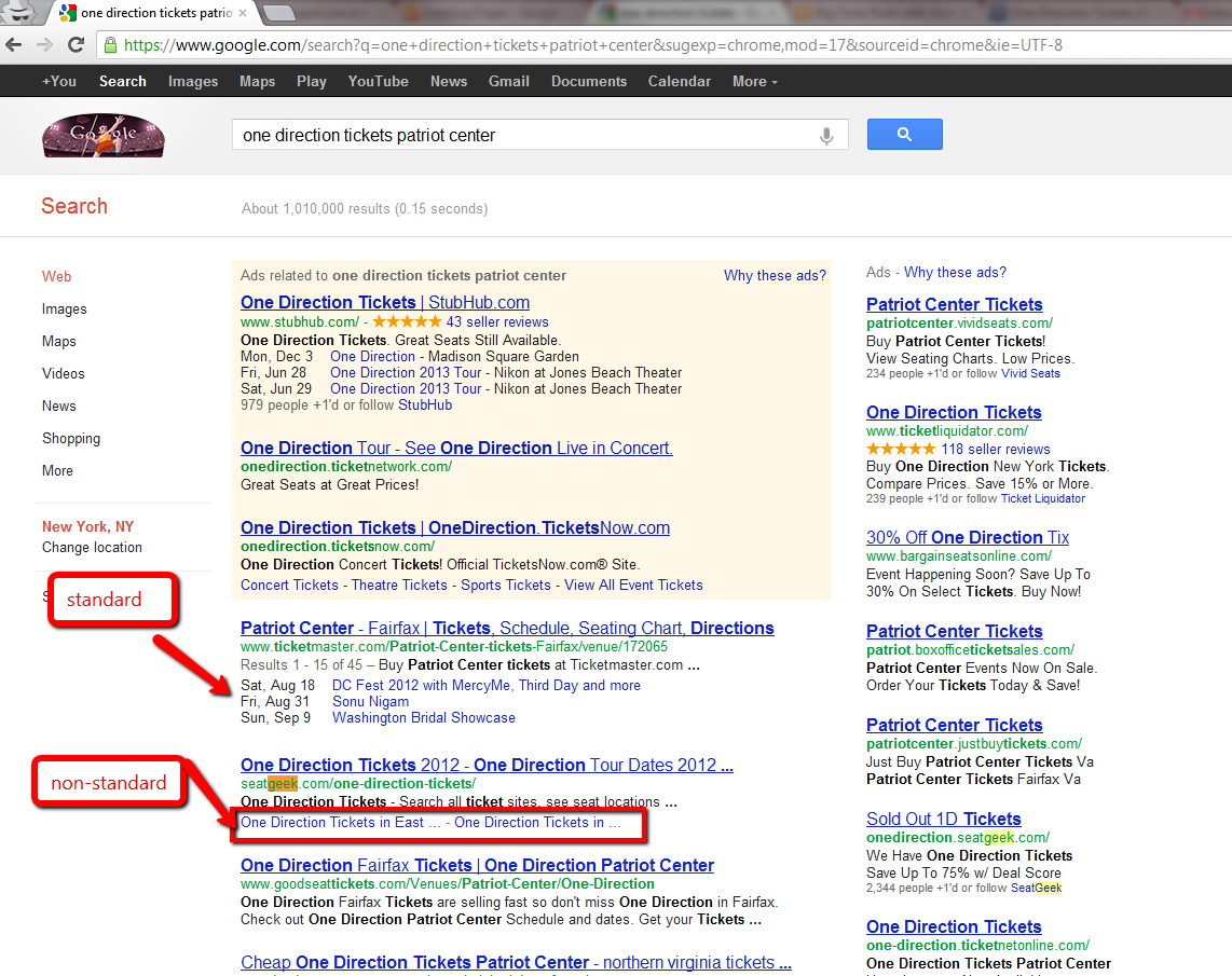 Non Standard_rich_snippet_type_event_links_in_serps