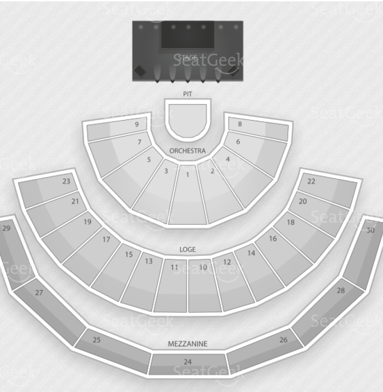 Gibson Amphitheatre seating chart.