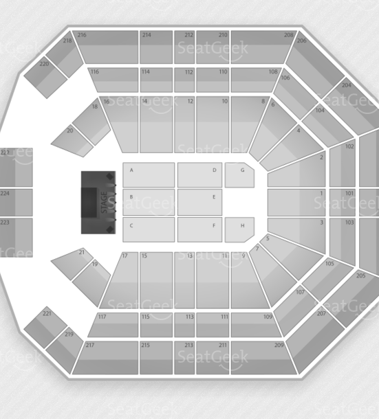 Seating chart for the MGM Grand Garden Arena.