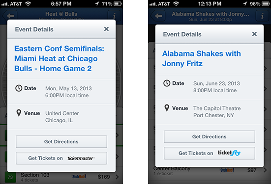Users of the SeatGeek iPhone App can now easily navigate to the primary box office for most events with direct links found on the info page for each event.