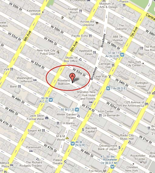 map of roseland ballroom in nyc